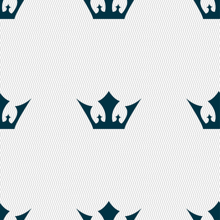 aristocracy: Crown icon sign. Seamless pattern with geometric texture. Vector illustration