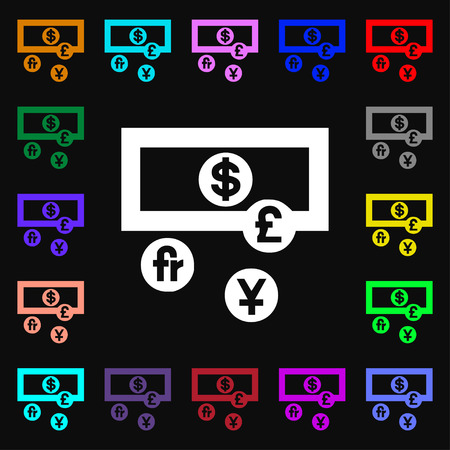 australian money: currencies of the world icon sign. Lots of colorful symbols for your design. Vector illustration