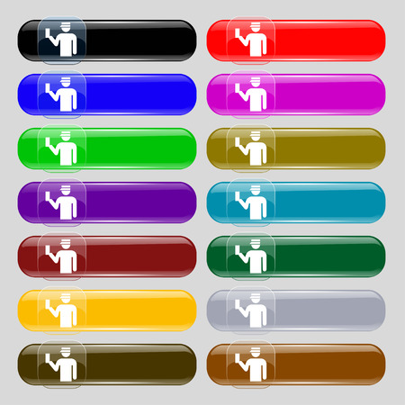 inspector: Inspector icon sign. Set from fourteen multi-colored glass buttons with place for text. Vector illustration Illustration