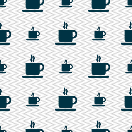 contemporary taste: coffee icon sign. Seamless pattern with geometric texture. Vector illustration