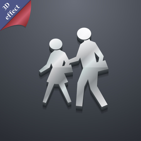 crosswalk: crosswalk icon symbol. 3D style. Trendy, modern design with space for your text Vector illustration