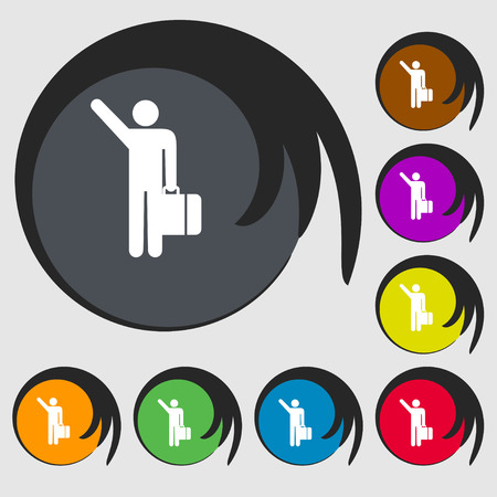 tourist icon: tourist icon sign. Symbol on eight colored buttons. Vector illustration Illustration