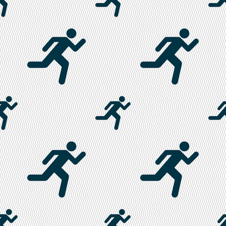 runner up: running man icon sign. Seamless pattern with geometric texture. Vector illustration