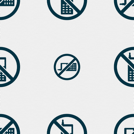 refrain: mobile phone is prohibited icon sign. Seamless pattern with geometric texture. Vector illustration Illustration