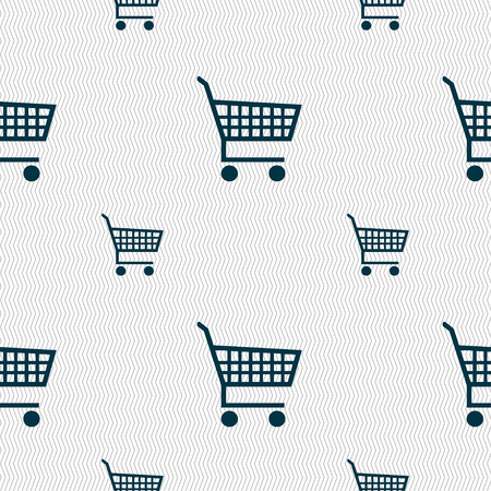 empty wallet: shopping cart icon sign. Seamless pattern with geometric texture. Vector illustration
