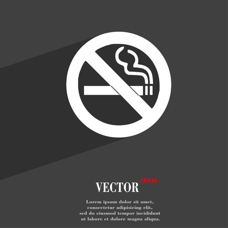 cigar shape: no smoking icon symbol Flat modern web design with long shadow and space for your text. Vector illustration