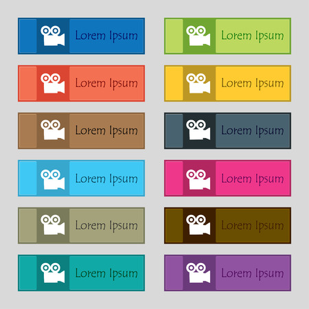 journalistic: video camera icon sign. Set of twelve rectangular, colorful, beautiful, high-quality buttons for the site. Vector illustration