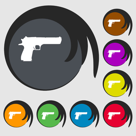 army gas mask: gun icon sign. Symbol on eight colored buttons. Vector illustration Illustration