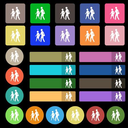 passage clout�: passage pour pi�tons signe ic�ne. Set de vingt-sept boutons plats multicolores. Vector illustration