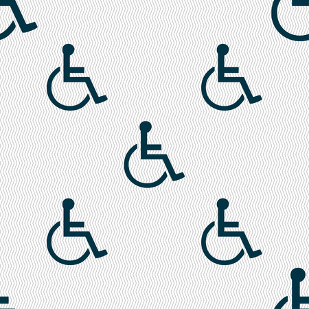 paralyze: disabled icon sign. Seamless pattern with geometric texture. Vector illustration Illustration