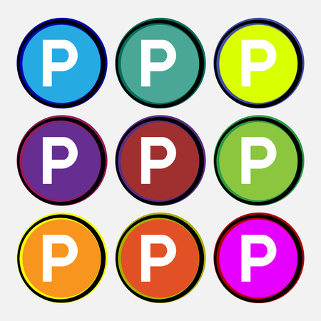 parking icon sign. Nine multi colored round buttons. Vector illustration