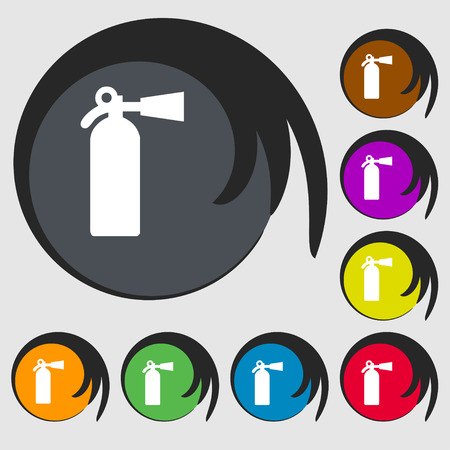 suppression: extinguisher icon sign. Symbol on eight colored buttons. Vector illustration