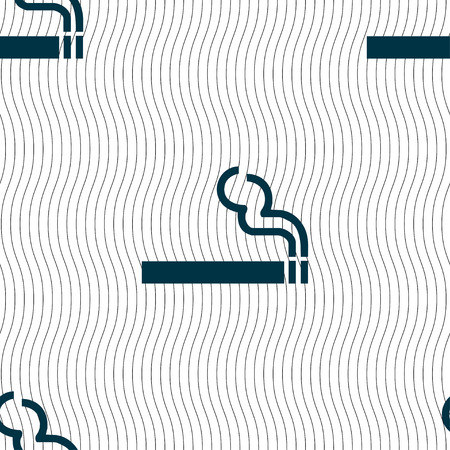 smoldering cigarette: cigarette smoke icon sign. Seamless pattern with geometric texture. Vector illustration Illustration
