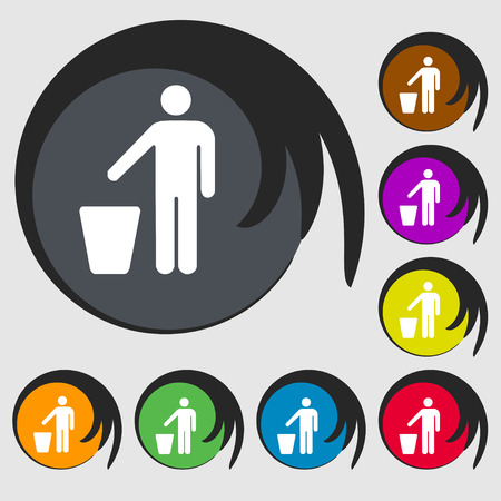 throw away the trash icon sign. Symbol on eight colored buttons. Vector illustration