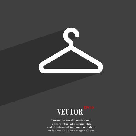 ropa colgada: colgador de ropa s�mbolo del icono de dise�o web moderno plana con una larga sombra y el espacio para el texto. Ilustraci�n vectorial Vectores