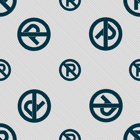 traffic warden: No parking icon sign. Seamless pattern with geometric texture. Vector illustration