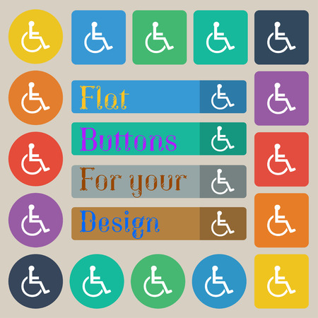 paralyze: disabled icon sign. Set of twenty colored flat, round, square and rectangular buttons. Vector illustration