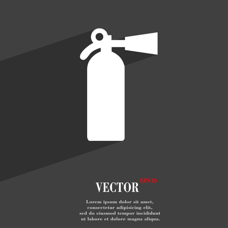 suppression: extinguisher icon symbol Flat modern web design with long shadow and space for your text. Vector illustration