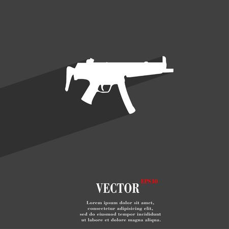 Machine Gun Icon Symbol Flat Modern Web Design With Long Shadow