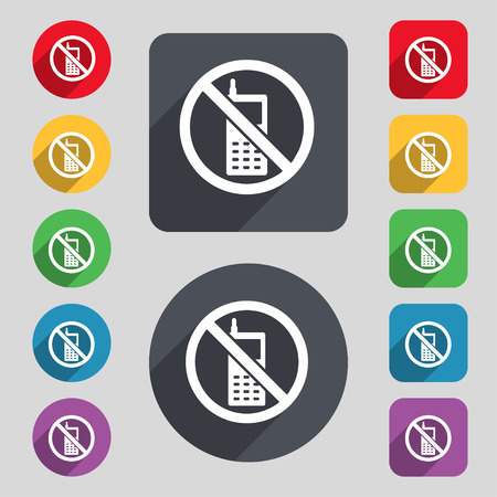 shut off: mobile phone is prohibited icon sign. A set of 12 colored buttons and a long shadow. Flat design. Vector illustration Illustration