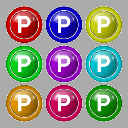 parking icon sign. symbol on nine round colourful buttons. Vector illustration Vettoriali