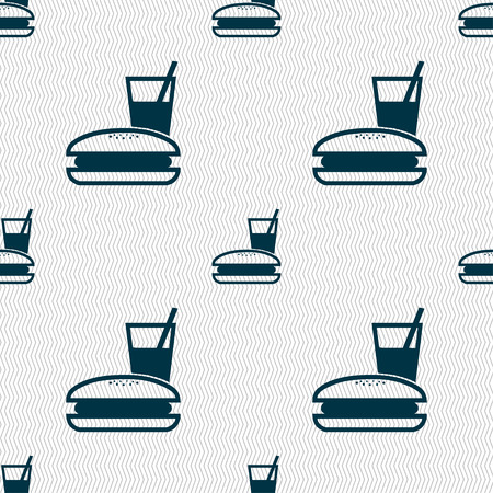 lunch box icon sign. Seamless pattern with geometric texture. Vector illustration