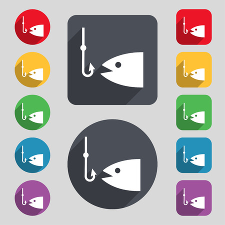 anchor man: Fishing icon sign. A set of 12 colored buttons and a long shadow. Flat design. Vector illustration