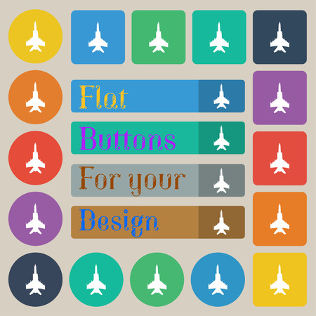 airbus: fighter icon sign. Set of twenty colored flat, round, square and rectangular buttons. Vector illustration