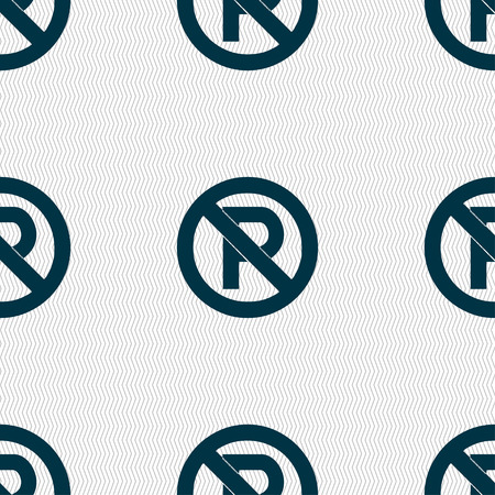 no  parking: No parking icon sign. Seamless pattern with geometric texture. Vector illustration