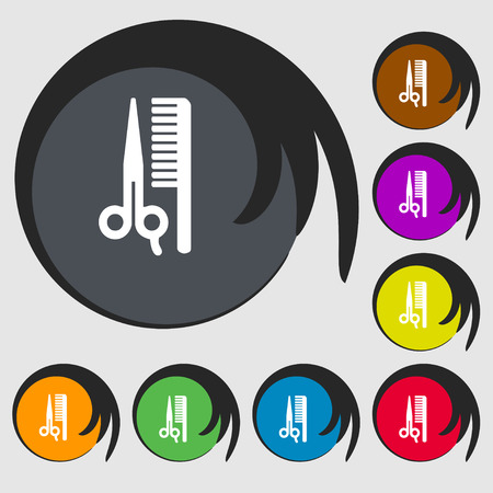 decoration decorative disguise: hair icon sign. Symbol on eight colored buttons. Vector illustration