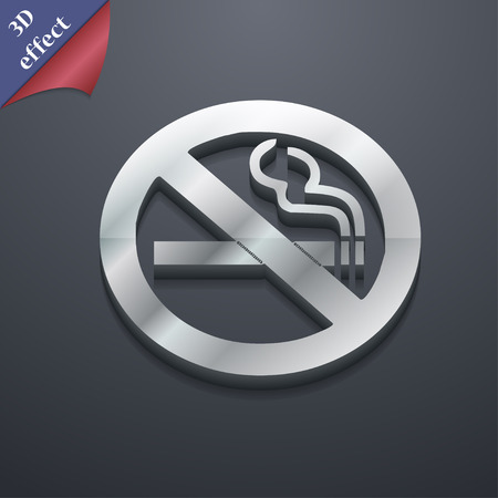smoldering cigarette: no smoking icon symbol. 3D style. Trendy, modern design with space for your text Vector illustration