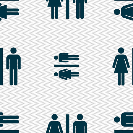 gents: silhouette of a man and a woman icon sign. Seamless pattern with geometric texture. Vector illustration