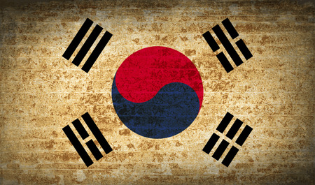 Flags of Korea South with dirty paper texture. Vector illustration