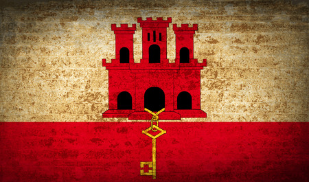 gibraltar: Flags of Gibraltar with dirty paper texture. Vector illustration