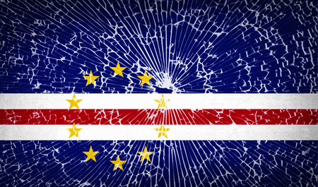 cape verde: Flags of Cape Verde with broken glass texture. Vector illustration