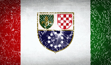 wallpaper  eps 10: Flags of Bosnia and Herzegovina Federation with broken glass texture. Vector illustration