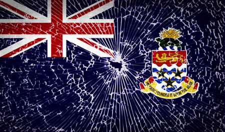 cayman: Flags of Cayman Islands with broken glass texture. Vector illustration
