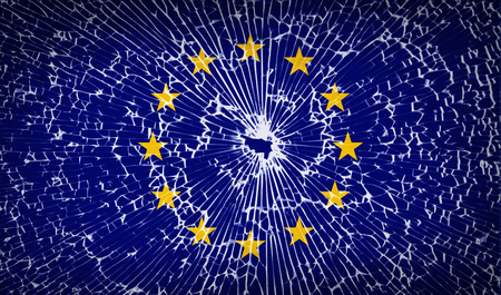glass texture: Flags of European Union with broken glass texture. Vector illustration Illustration