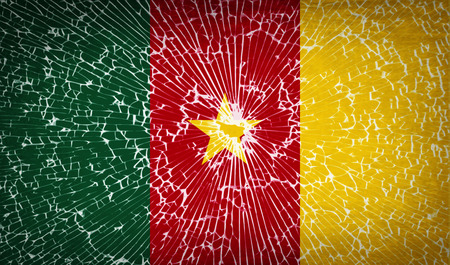 cameroonian: Flags of cameroon with broken glass texture. Vector illustration
