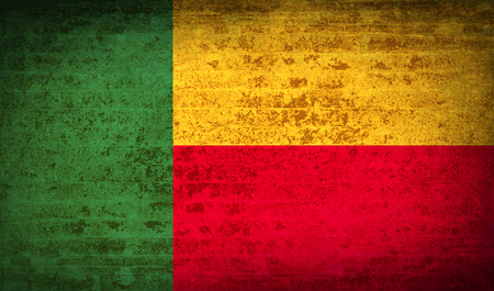benin: Flags of Benin with dirty paper texture. Vector illustration Illustration
