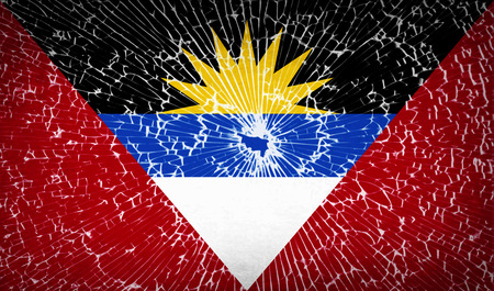 barbuda: Flags of Antigua and Barbuda with broken glass texture. Vector illustration