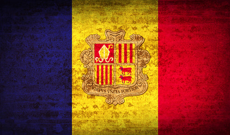andorra: Flags of Andorra with dirty paper texture. Vector illustration Illustration