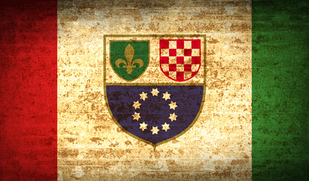 dependency: Flags of Bosnia and Herzegovina Federation with dirty paper texture. Vector illustration Illustration