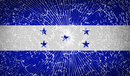 spangled: Flags of Honduras with broken glass texture. Vector illustration