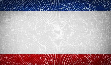 crimea: Flags of Crimea with broken glass texture. Vector illustration Illustration