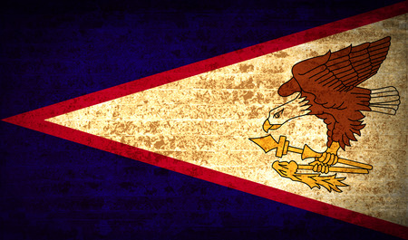 dependency: Flags of American Samoa with dirty paper texture. Vector illustration