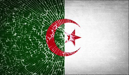 glass texture: Flags of Algeria with broken glass texture. Vector illustration
