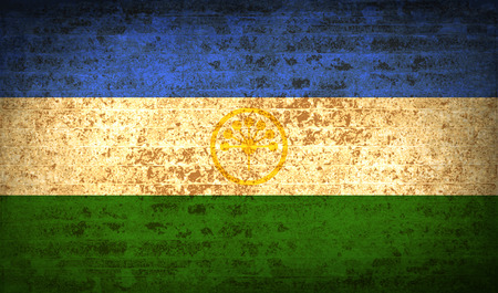 standards: Flags of Bashkortostan with dirty paper texture. Vector illustration