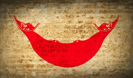 rapa nui: Banderas de Eaaster Rapa Nui con textura de papel sucio. Ilustración vectorial Vectores