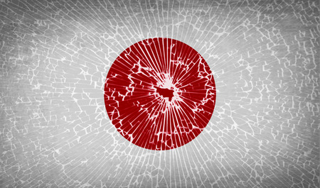 hinomaru: Flags of Japan with broken glass texture. Vector illustration